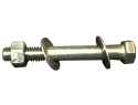 "Bolt Assembly : 3/8-15"" X 41/2"" Hexhead, 1 Nut, 2 Washers, 18-8 SS"